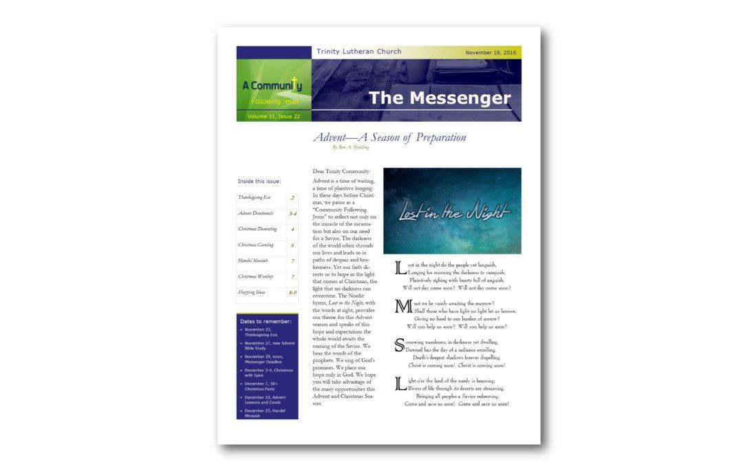 November 18, 2016, Advent Messenger