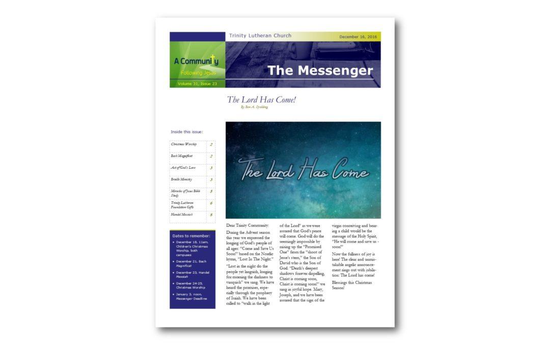 December 16, 2016, Messenger