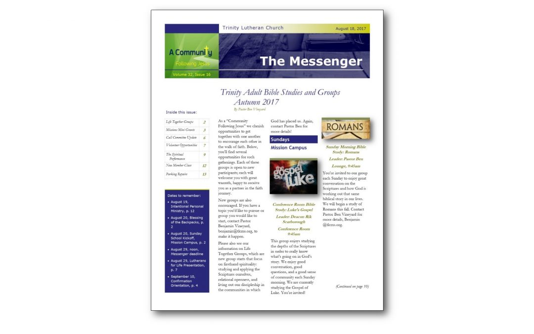 August 18 Trinity Messenger